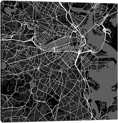 Boston Urban Roadway Map (Black) Canvas Art Print