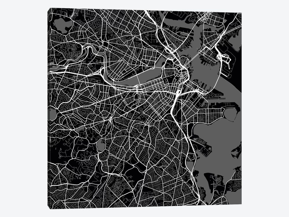 Boston Urban Roadway Map (Black) by Urbanmap 1-piece Art Print