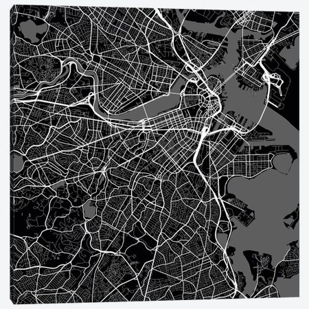 Boston Urban Roadway Map (Black) 3-Piece Canvas #ESV118} by Urbanmap Canvas Print