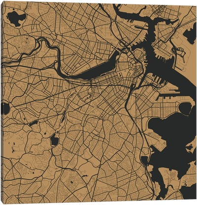 Boston Urban Roadway Map (Gold) Canvas Art Print