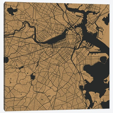 Boston Urban Roadway Map (Gold) 3-Piece Canvas #ESV120} by Urbanmap Canvas Wall Art