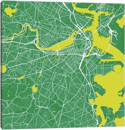 Boston Urban Roadway Map (Green) Canvas Art Print