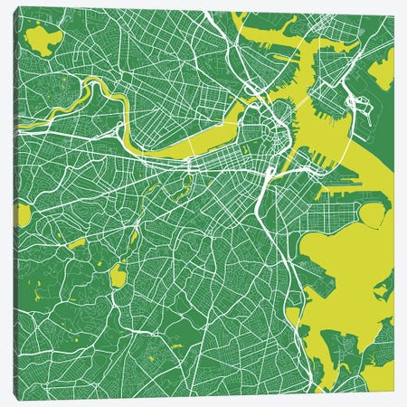Boston Urban Roadway Map (Green) 3-Piece Canvas #ESV121} by Urbanmap Canvas Wall Art