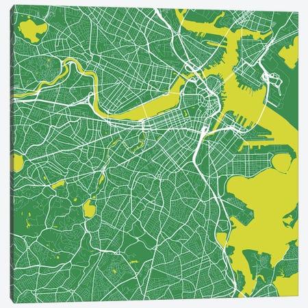 Boston Urban Roadway Map (Green) Canvas Print #ESV121} by Urbanmap Canvas Wall Art