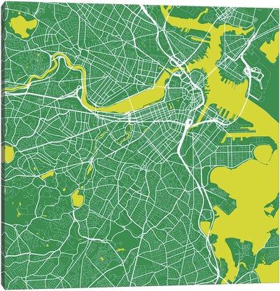 Boston Urban Roadway Map (Green) Canvas Art Print