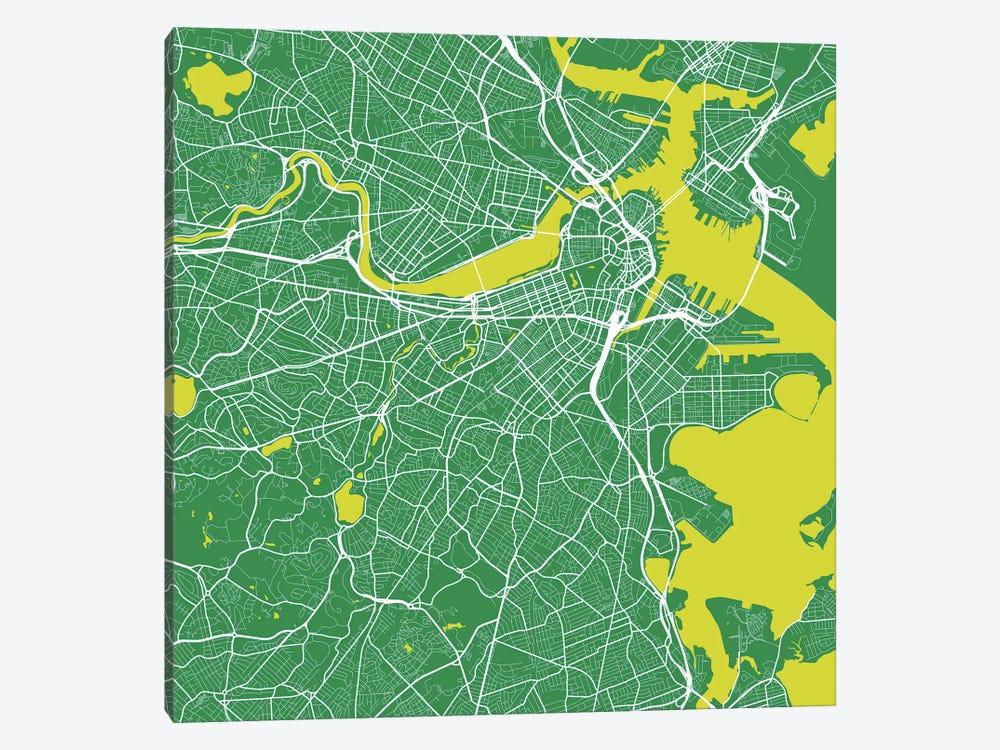 Boston Urban Roadway Map (Green) by Urbanmap 1-piece Canvas Art Print