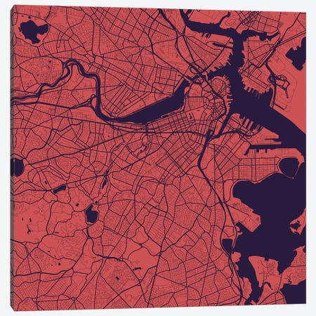Boston Urban Roadway Map (Purple Night) Canvas Print #ESV123} by Urbanmap Canvas Wall Art