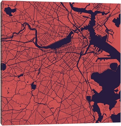 Boston Urban Roadway Map (Purple Night) Canvas Print #ESV123