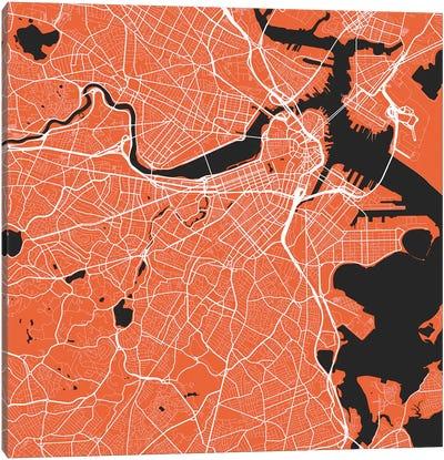 Boston Urban Roadway Map (Red) Canvas Art Print