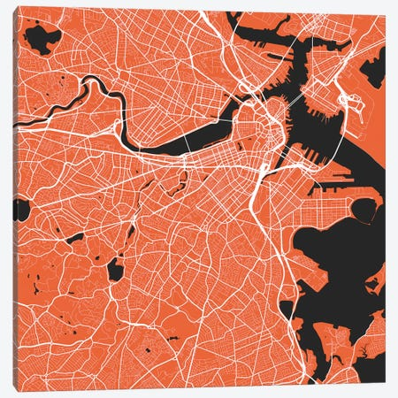 Boston Urban Roadway Map (Red) 3-Piece Canvas #ESV124} by Urbanmap Art Print