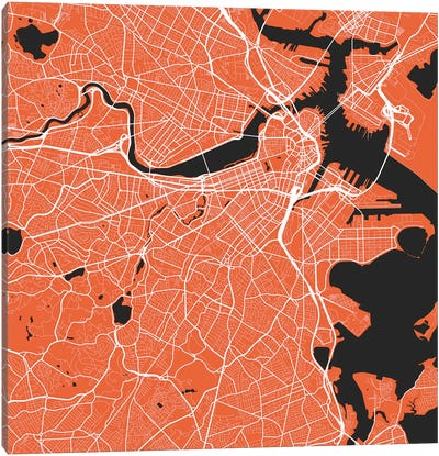 Boston Urban Roadway Map (Red) Canvas Art Print