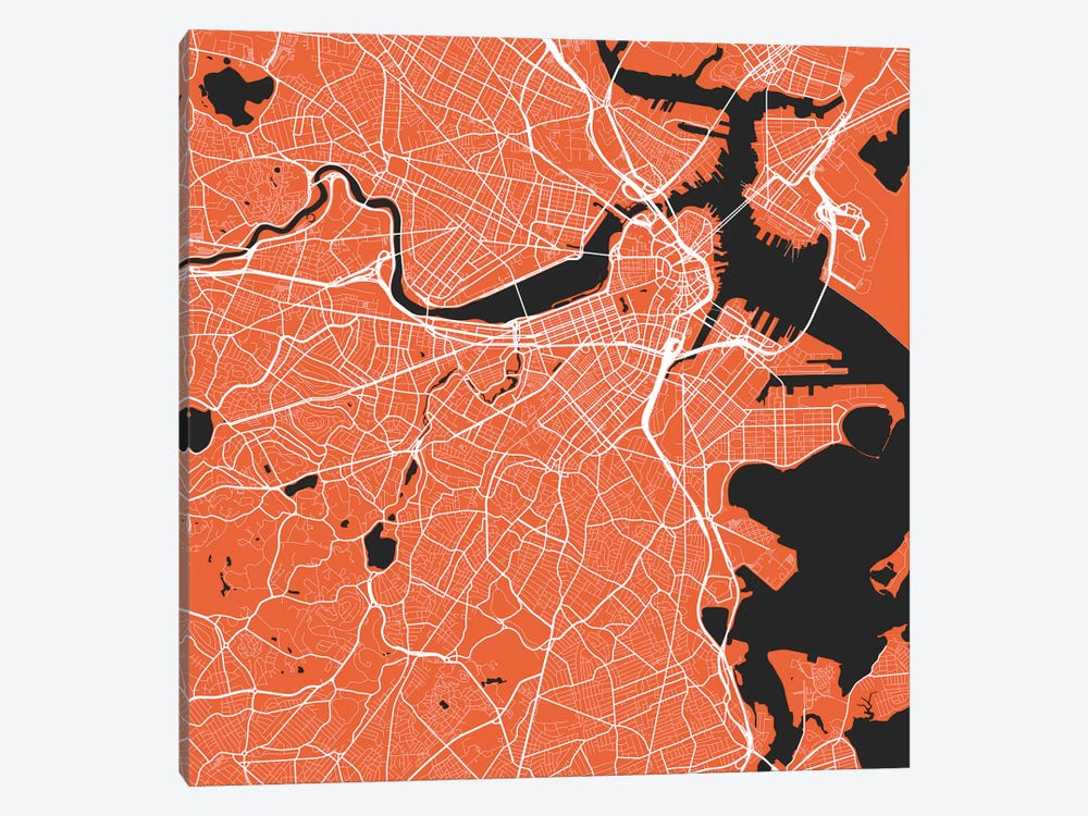 Boston Urban Roadway Map (Red) by Urbanmap 1-piece Canvas Art