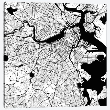 Boston Urban Roadway Map (White) Canvas Print #ESV125} by Urbanmap Canvas Print