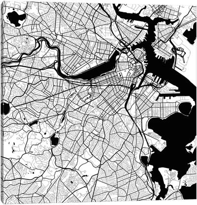 Boston Urban Roadway Map (White) Canvas Art Print