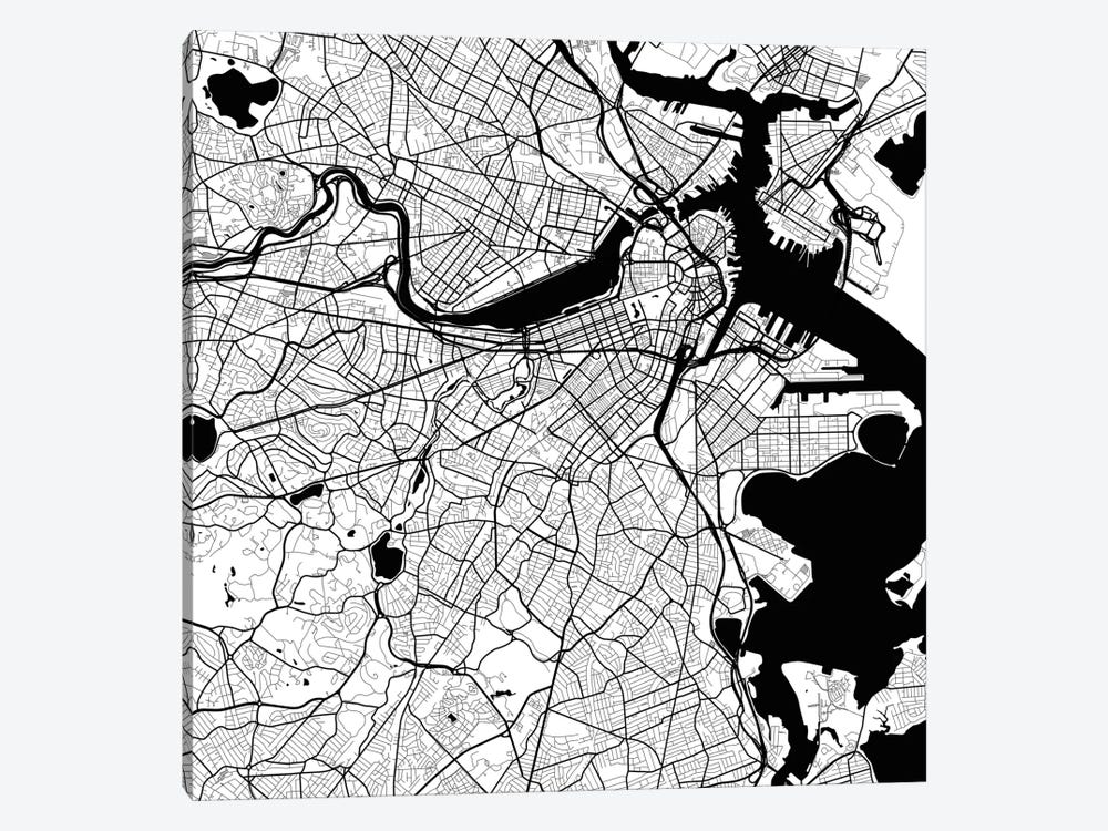 Boston Urban Roadway Map (White) by Urbanmap 1-piece Art Print