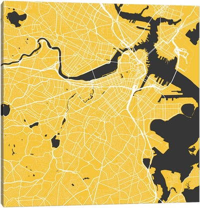 Boston Urban Roadway Map (Yellow) Canvas Art Print
