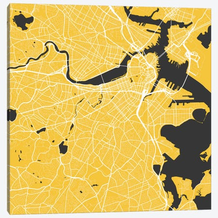 Boston Urban Roadway Map (Yellow) Canvas Print #ESV126} by Urbanmap Canvas Print