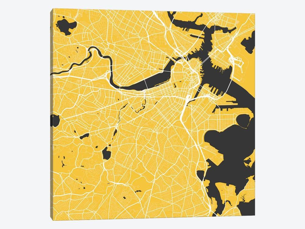 Boston Urban Roadway Map (Yellow) by Urbanmap 1-piece Canvas Wall Art