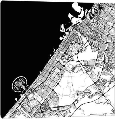 Dubai Urban Map (Black) Canvas Print #ESV127