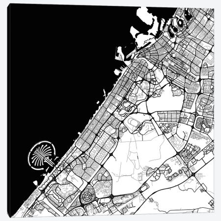 Dubai Urban Map (Black) 3-Piece Canvas #ESV127} by Urbanmap Art Print