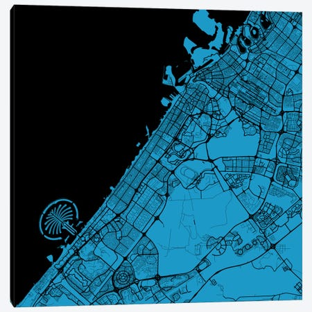 Dubai Urban Map (Blue) Canvas Print #ESV128} by Urbanmap Canvas Artwork