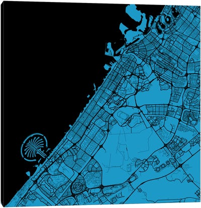 Dubai Urban Map (Blue) Canvas Print #ESV128