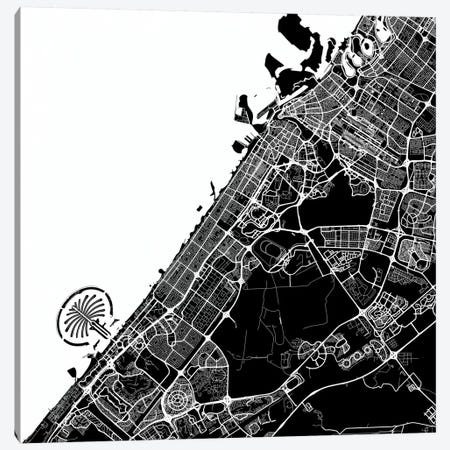 Dubai Urban Map (White) Canvas Print #ESV134} by Urbanmap Canvas Wall Art