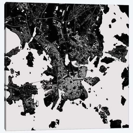 Helsinki Urban Map (Black) Canvas Print #ESV136} by Urbanmap Canvas Art