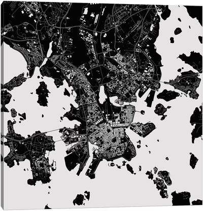 Helsinki Urban Map (Black) Canvas Art Print