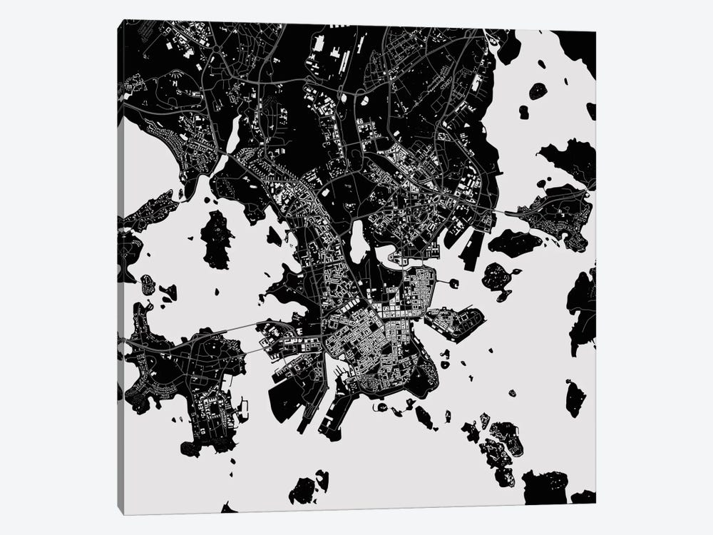 Helsinki Urban Map (Black) by Urbanmap 1-piece Canvas Print
