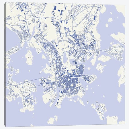 Helsinki Urban Map (Blue) Canvas Print #ESV137} by Urbanmap Canvas Art