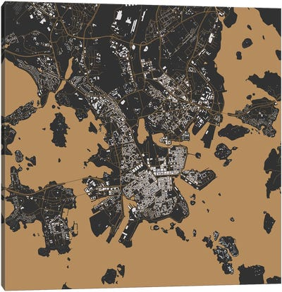 Helsinki Urban Map (Gold) Canvas Print #ESV138