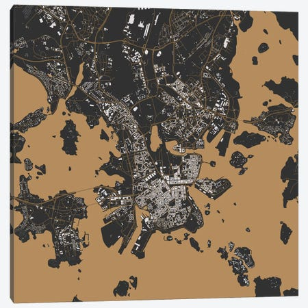 Helsinki Urban Map (Gold) Canvas Print #ESV138} by Urbanmap Canvas Print