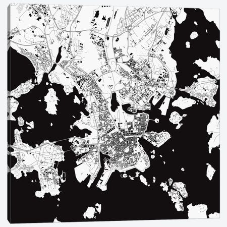 Helsinki Urban Map (White) Canvas Print #ESV143} by Urbanmap Canvas Artwork