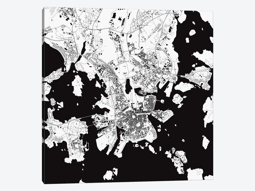 Helsinki Urban Map (White) by Urbanmap 1-piece Canvas Print