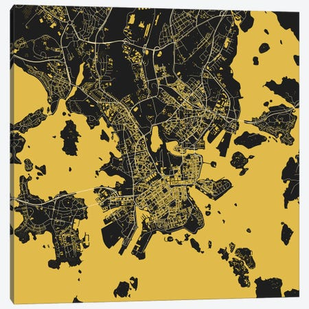 Helsinki Urban Map (Yellow) Canvas Print #ESV144} by Urbanmap Art Print