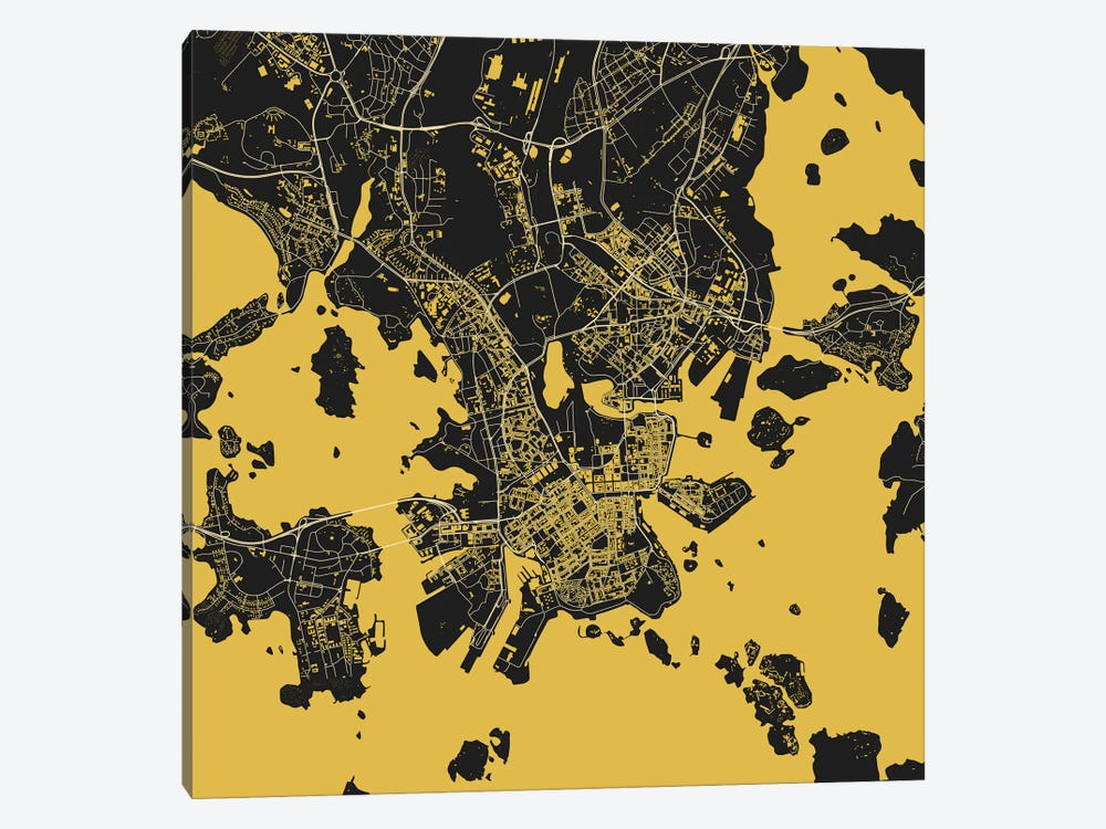 Helsinki Urban Map (Yellow) by Urbanmap 1-piece Canvas Art