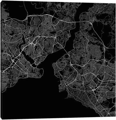 Istanbul Urban Roadway Map (Black) Canvas Art Print