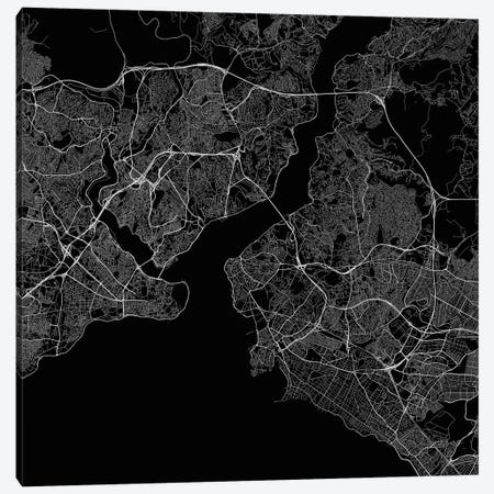 Istanbul Urban Roadway Map (Black) Canvas Print #ESV145} by Urbanmap Canvas Print