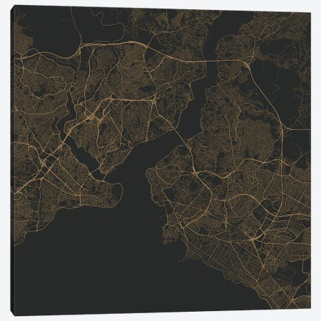 Istanbul Urban Roadway Map (Gold) Canvas Print #ESV147} by Urbanmap Canvas Art Print