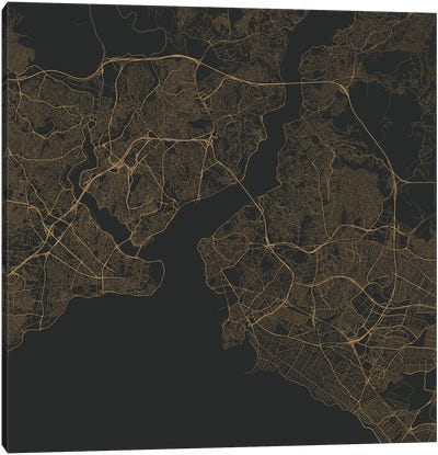 Istanbul Urban Roadway Map (Gold) Canvas Art Print