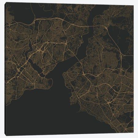 Istanbul Urban Roadway Map (Gold) Canvas Print #ESV147} by Urbanmap Canvas Art Print