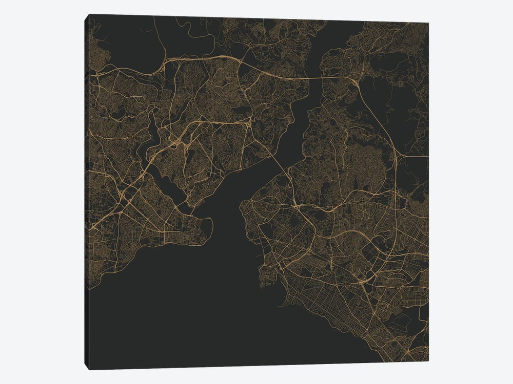 Istanbul Urban Roadway Map (Gold) by Urbanmap 1-piece Art Print