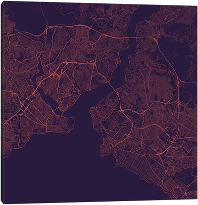 Istanbul Urban Roadway Map (Purple Night) Canvas Art Print