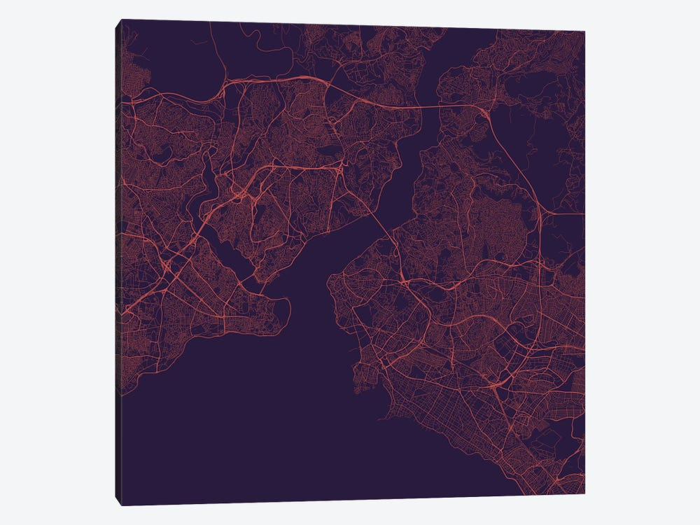 Istanbul Urban Roadway Map (Purple Night) by Urbanmap 1-piece Canvas Print