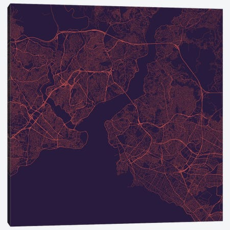 Istanbul Urban Roadway Map (Purple Night) Canvas Print #ESV150} by Urbanmap Canvas Art Print