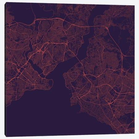 Istanbul Urban Roadway Map (Purple Night) Canvas Print #ESV150} by Urbanmap Canvas Art Print