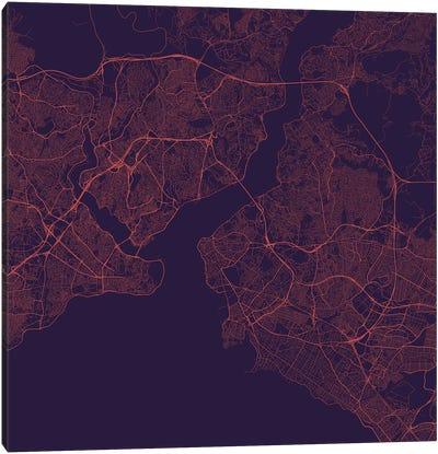 Istanbul Urban Roadway Map (Purple Night) Canvas Art Print