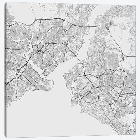 Istanbul Urban Roadway Map (White) Canvas Print #ESV152} by Urbanmap Canvas Art Print
