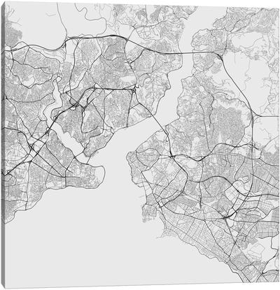 Istanbul Urban Roadway Map (White) Canvas Art Print